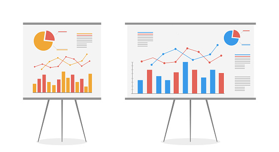 Set of graphs on the whiteboard vector cartoon. Statistics data analysis business, vector.