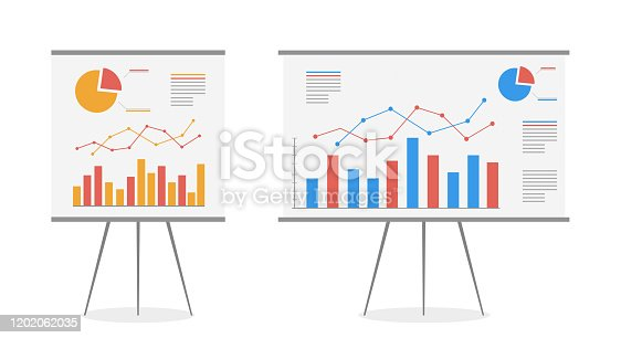 istock Set of graphs on the whiteboard vector cartoon. Statistics data analysis business, vector. 1202062035