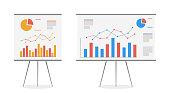istock Set of graphs on the whiteboard vector cartoon. Statistics data analysis business, vector. 1202062035