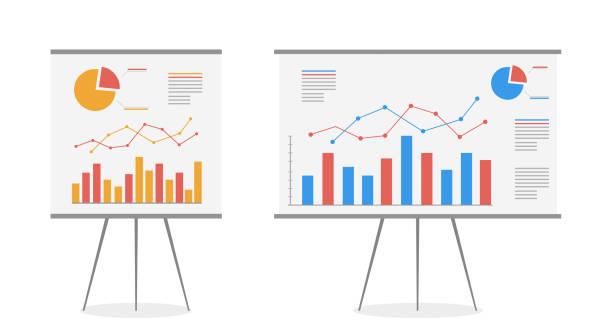 satz von diagrammen auf dem whiteboard-vektor-cartoon. statistik datenanalyse geschäft, vektor. - flipchart stock-grafiken, -clipart, -cartoons und -symbole
