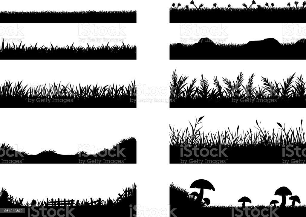 Set van gras vector op witte achtergrond - Royalty-free Abstract vectorkunst