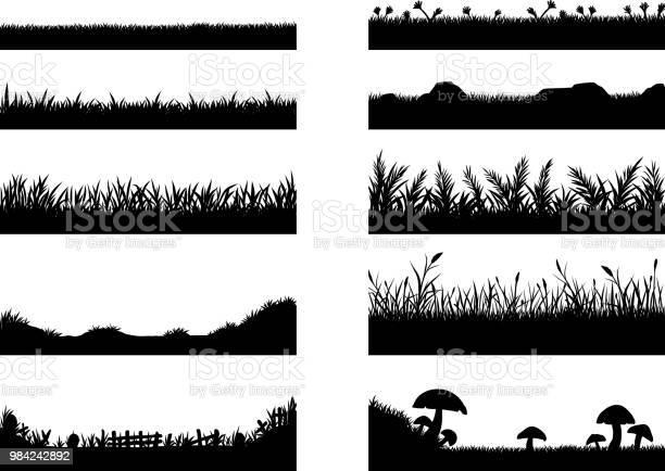 Set Van Gras Vector Op Witte Achtergrond Stockvectorkunst en meer beelden van Abstract