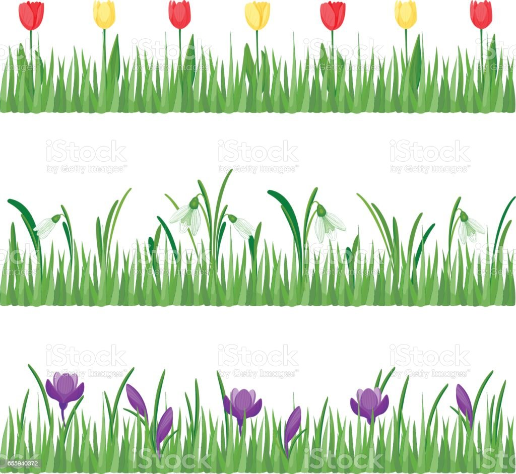 Set of grass with flowers vector art illustration