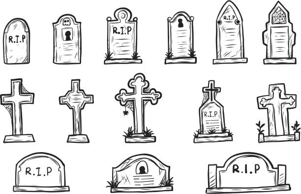 set of grave marker vector on white background - tombstone stock illustrations, clip art, cartoons, & icons