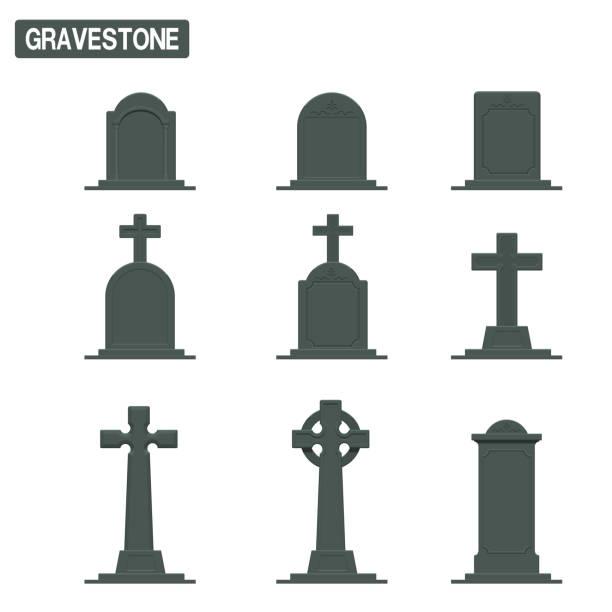 stockillustraties, clipart, cartoons en iconen met verzameling grafsteen op transparante achtergrond - mausoleum
