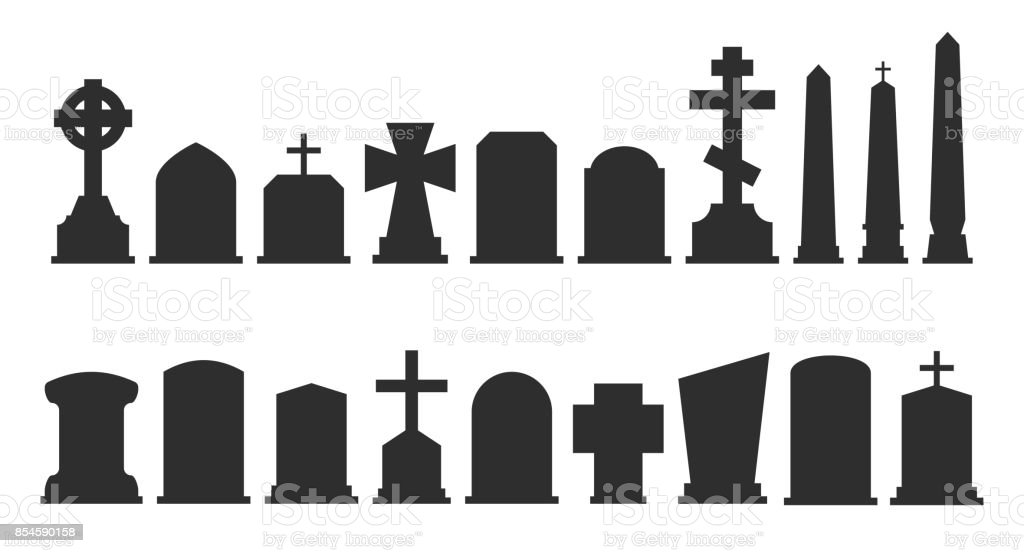 Set Of Gravestone Silhouettes Isolated On White Background Vector ...