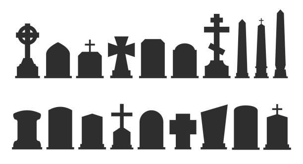 bildbanksillustrationer, clip art samt tecknat material och ikoner med uppsättning av gravsten silhuetter isolerad på vit bakgrund. vektorillustration - grav