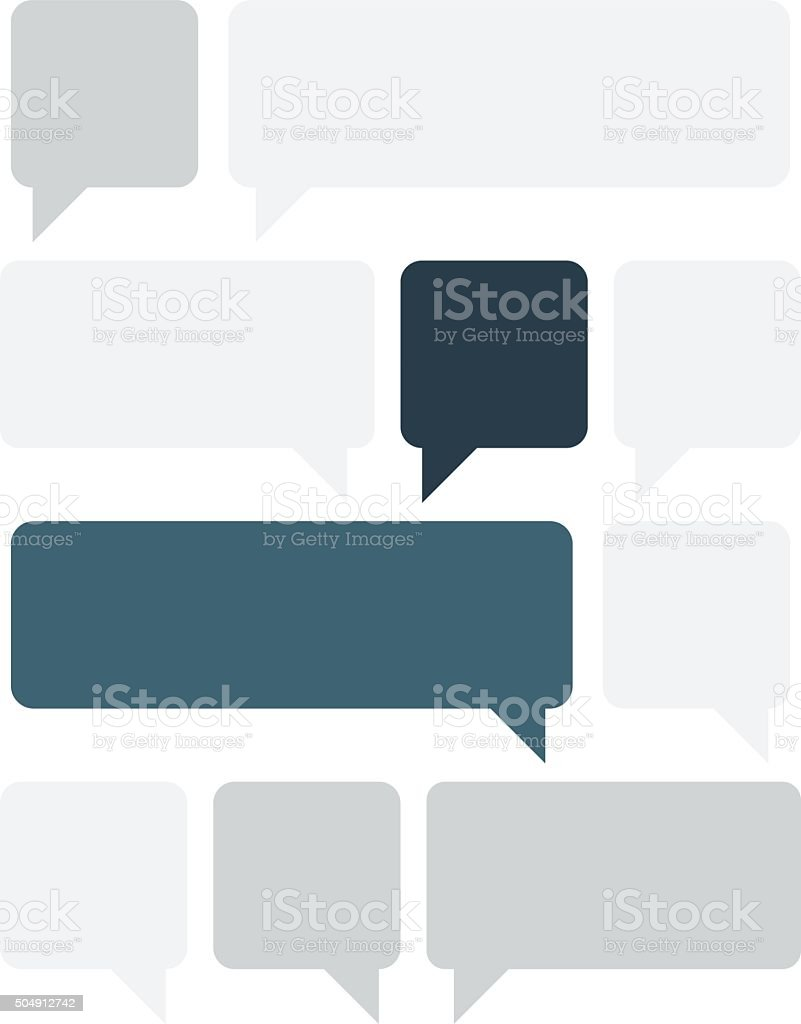 Set of gray and blue text boxes