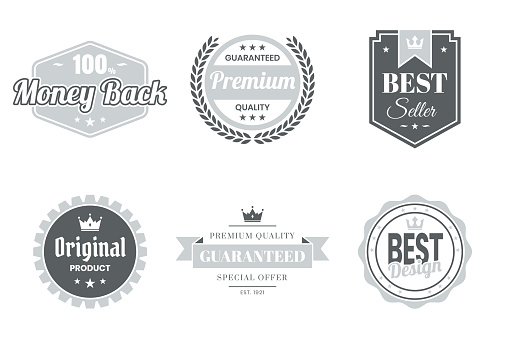 Set of Gray Badges and Labels - Design Elements