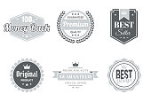 Set of 6 Gray badges and labels, isolated on white background (100% Money Back, Premium - Guaranteed Quality, Best Seller, Original Product, Guaranteed - Premium Quality - Special Offer, Best Design). Elements for your design, with space for your text. Vector Illustration (EPS10, well layered and grouped). Easy to edit, manipulate, resize or colorize.