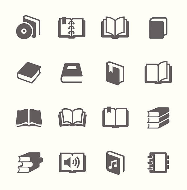 Set of gray book icons Simple set of books related vector icons for your design. book clipart stock illustrations