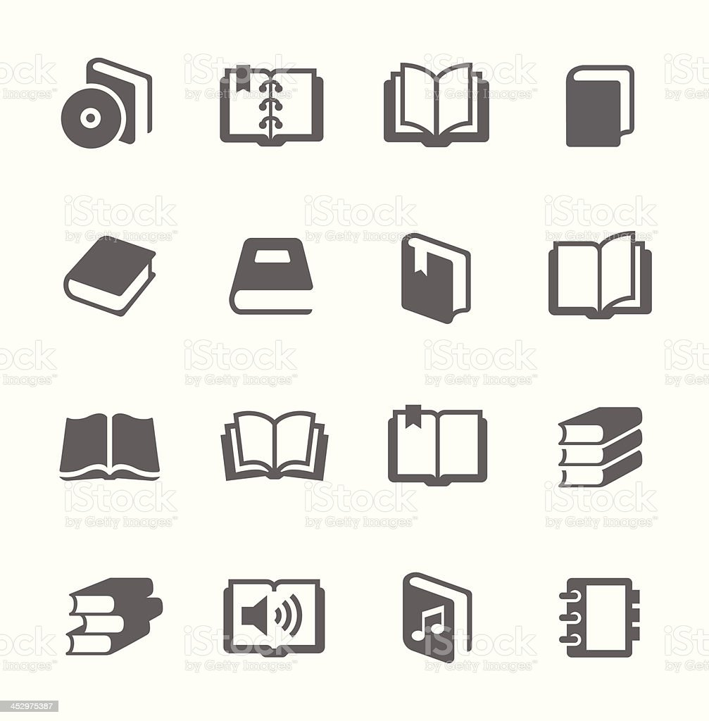 Set of gray book icons vector art illustration