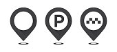 Set of gray map pointers. Map pointer, map parking pointer, map taxi pointer. Vector icons