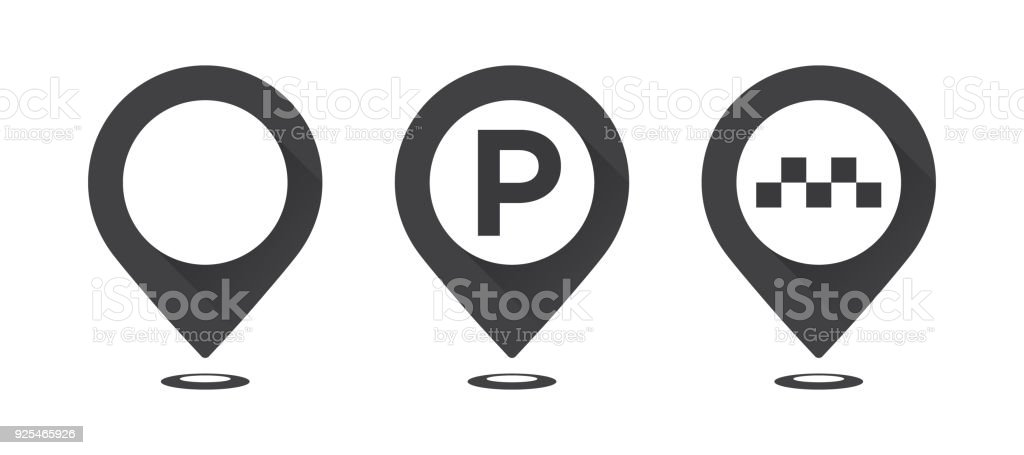Set of gray map pointers. Map pointer, map parking pointer, map taxi pointer. vector art illustration
