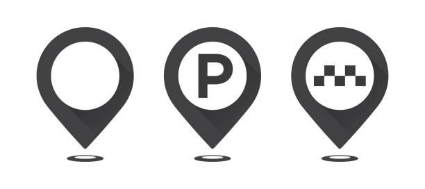 illustrations, cliparts, dessins animés et icônes de ensemble de pointeurs de carte grise. carte de pointeur, pointeur de stationnement carte, pointeur de taxi de carte. - gare