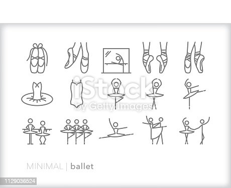 Set of 15 minimal gray ballet icons for ballerinas and dancers including point shoes, mirror and barre, positions, tutu, bodice, poses and jumps for rehearsal and performance