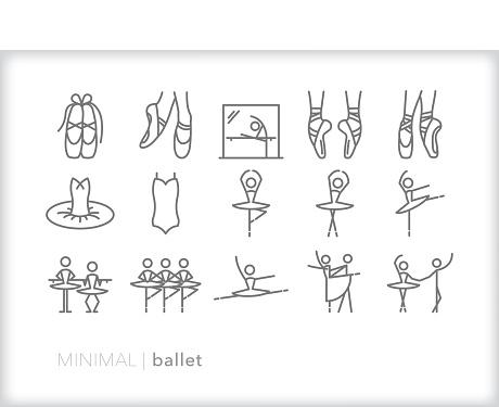Set of gray minimal ballet, ballerina and dancer icons