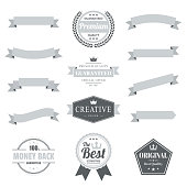 Set of Gray ribbons, banners, badges and labels, isolated on a blank background. Elements for your design, with space for your text. Vector Illustration (EPS10, well layered and grouped). Easy to edit, manipulate, resize or colorize.