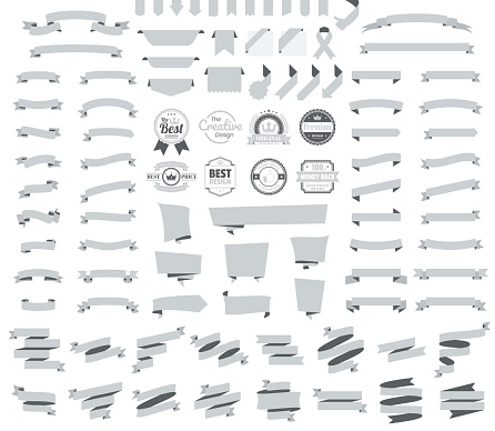 Set of Gray Ribbons, Banners, badges, Labels - Design Elements on white background