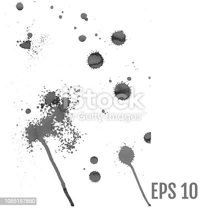 istock Set of gray splash on white background vector illustration. All elements are not grouped. 1055157850