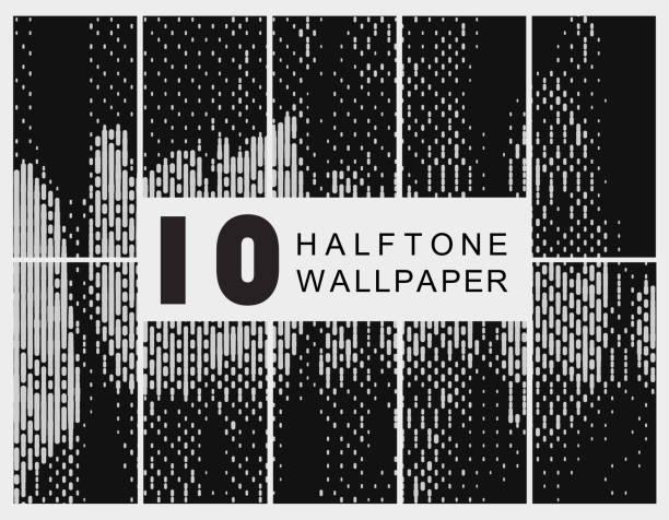 set of gray stripe halftone pattern vector art illustration