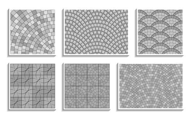 stockillustraties, clipart, cartoons en iconen met set van grijswaarden naadloze ronde bestrating texturen. vector herhalende patronen van radiale steenmateriaal - stoep