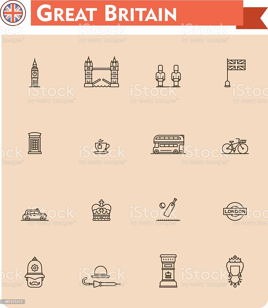 Set of Great Britain travel icons vector art illustration