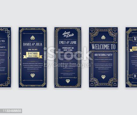 istock Set of Great Quality Style Invitation in Art Deco or Nouveau Epoch 1920's Gangster Era Collection Vector 1133468855