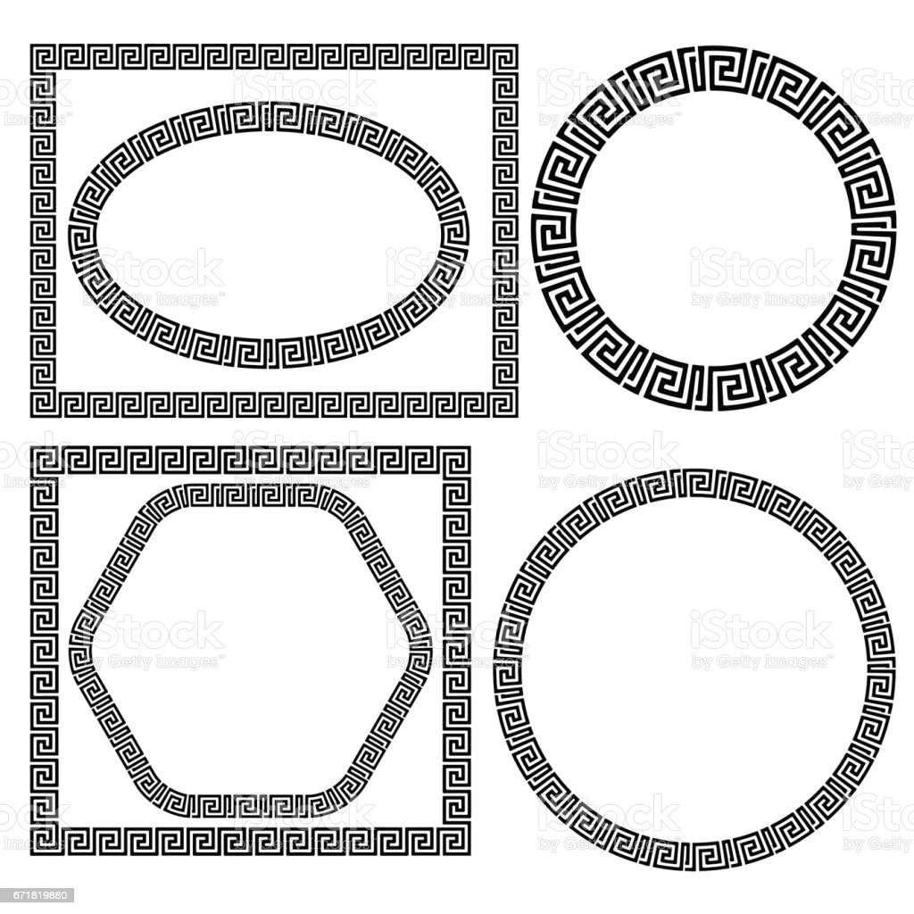 Set of Greek Ornamenal Frames vector art illustration