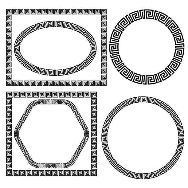 Set of Greek Ornamenal Frames Set of Greek Ornamenal Frames Isolated on White Background classical greek stock illustrations