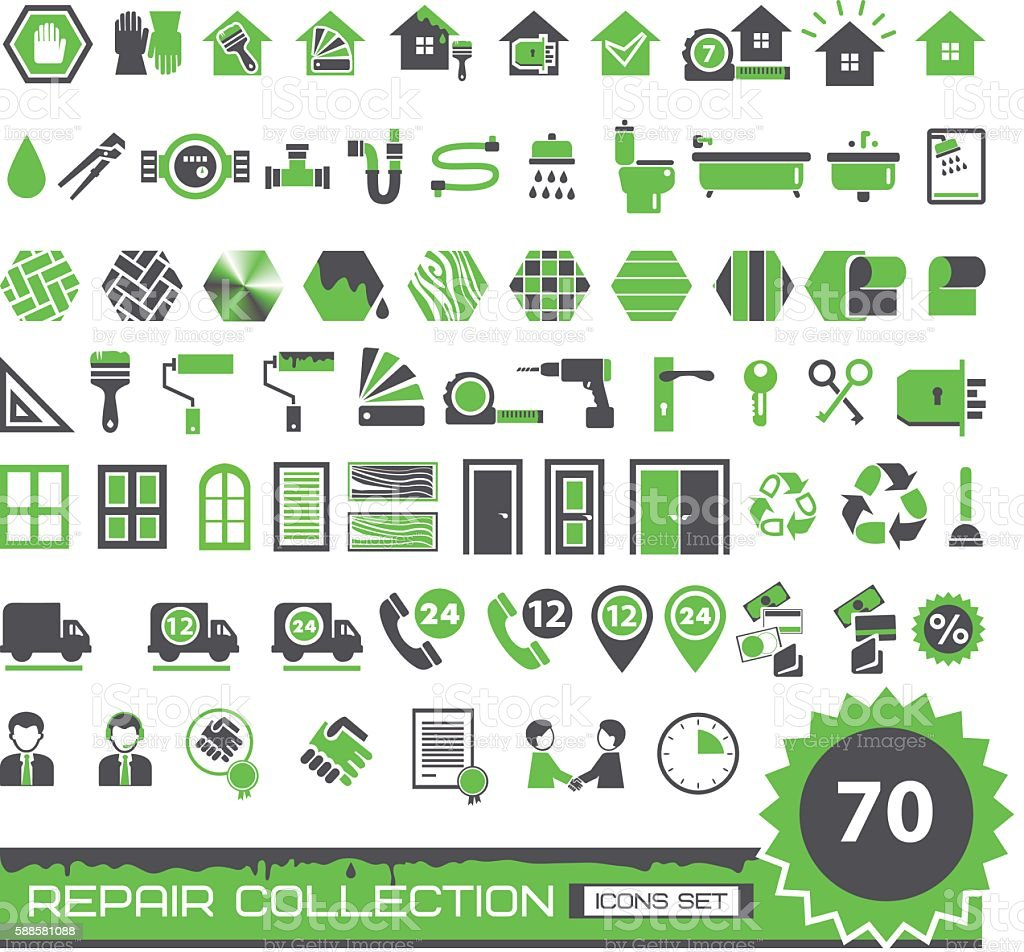 set of green and gray repair icons vector art illustration