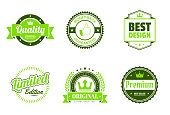 Set of 6 Green badges and labels, isolated on white background (Quality - Guaranteed, Money Back Guaranteed, Best Design, Limited Edition, Original - Premium Quality Guaranteed, Premium - Best Seller). Elements for your design, with space for your text. Vector Illustration (EPS10, well layered and grouped). Easy to edit, manipulate, resize or colorize. Please do not hesitate to contact me if you have any questions, or need to customise the illustration. http://www.istockphoto.com/portfolio/bgblue