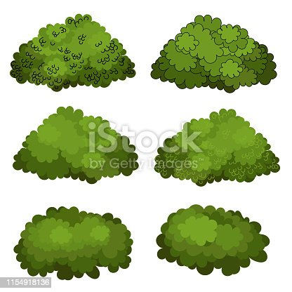 Set of green bushes vector art