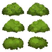 Set of green bushes vector art
