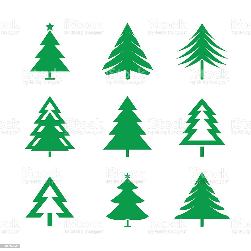 set of green christmas trees vector illustrations royalty free set of green christmas