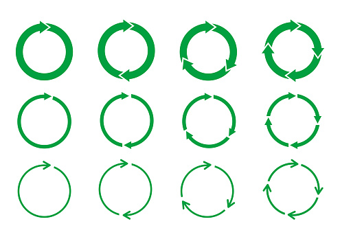Set of green circle arrows rotating on white background. Recycle concept.