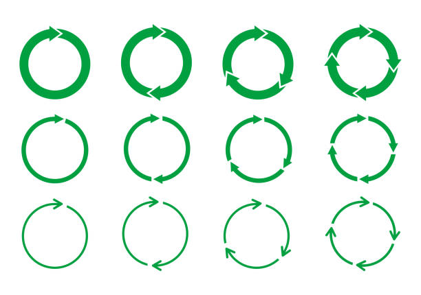 Set of green circle arrows rotating on white background. Recycle concept. Arrow heads representing circulation. Refresh, reload, loop rotation sign collection. Vector illustration,flat style, clip art circle stock illustrations
