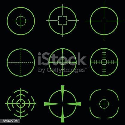 Set of green crosshair scope target on black background