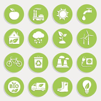 Set of Green Ecology Flat Icons