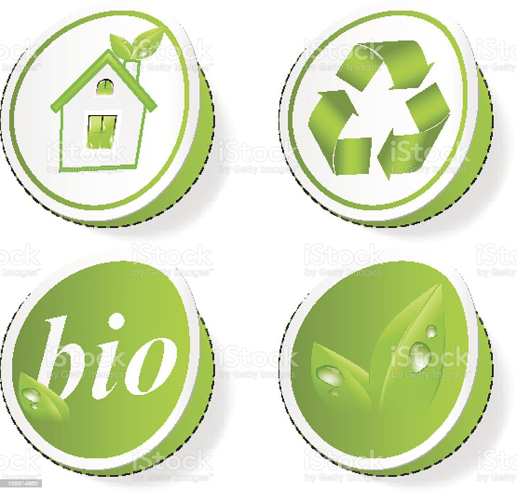 Set of green ecology tags royalty-free stock vector art