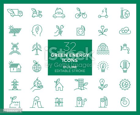 Set of Green Energy icons in line