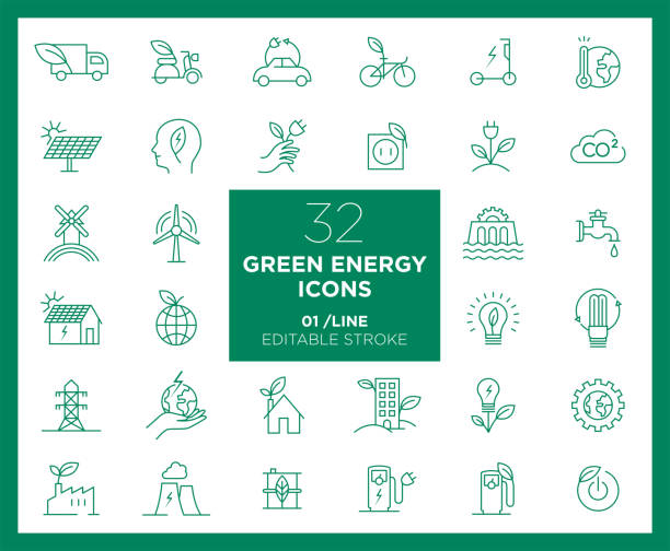 Set of Green Energy icons in line Set of Green Energy icons in line sustainable energy stock illustrations