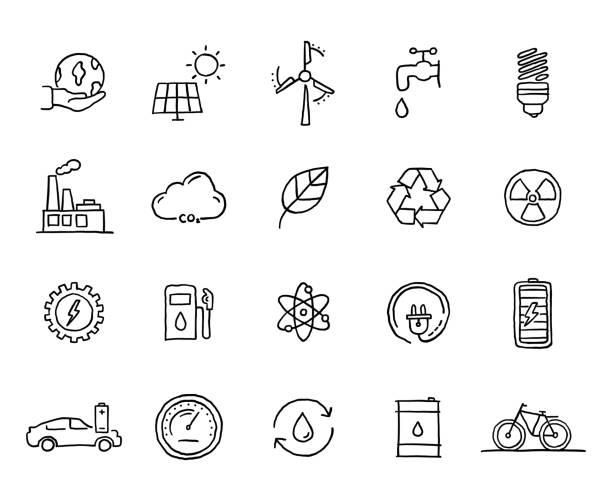 illustrazioni stock, clip art, cartoni animati e icone di tendenza di set of green energy related objects and elements. hand drawn vector doodle illustration collection. hand drawn icon set. - sustainability icons