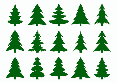 Set of green fir-tree and pines silhouettes isolated on white background. New Year, Christmas tree modern icons.