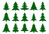 Set of green fir-tree and pines silhouettes isolated on white background. New Year, Christmas tree modern icons. Festive symbols for your design. Large collection of modern icons. Vector illustration