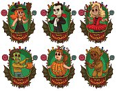 Set of green frames with children in various Halloween costumes