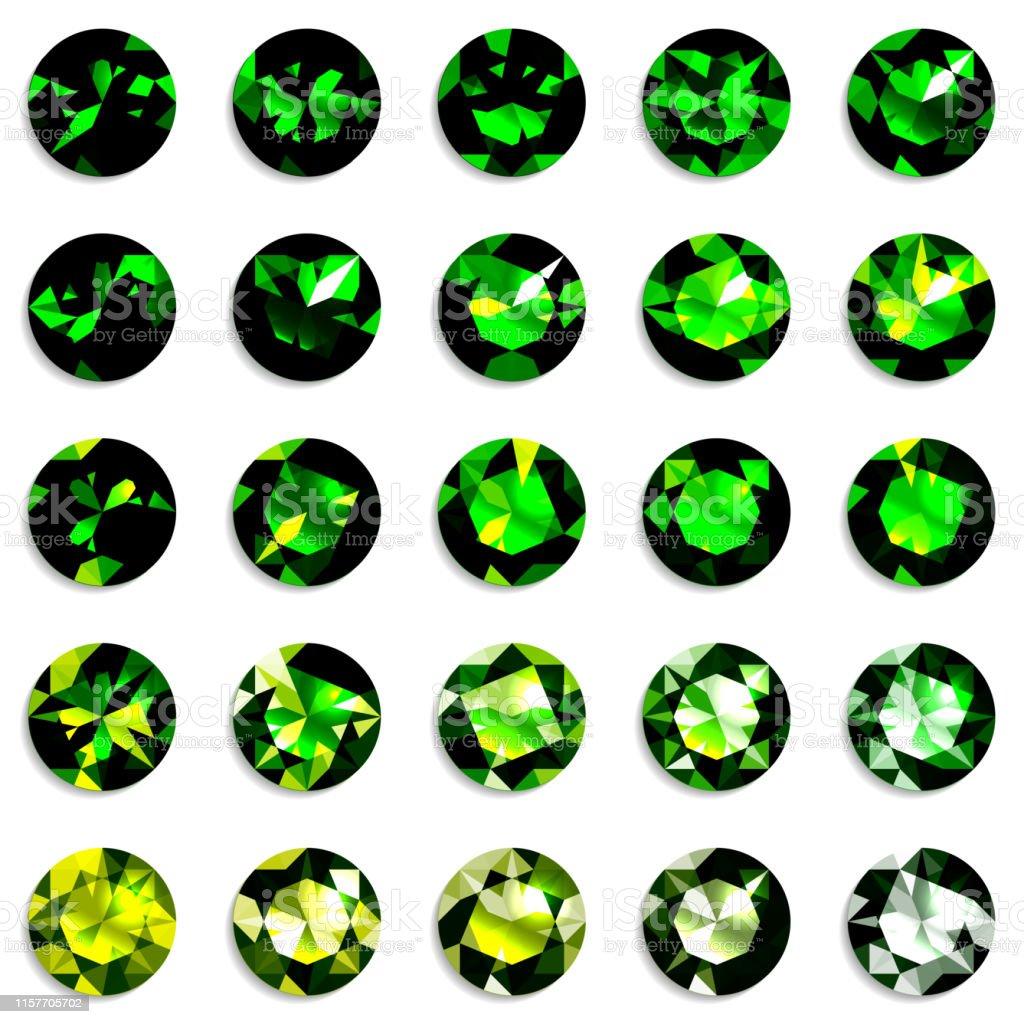 09b513434a2f Ilustración de Conjunto De Piedras Preciosas De Degradado Verde De ...