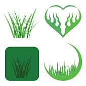 Set of Green Grass Icons Isolated on White Background