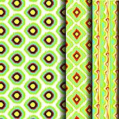 A set of green ikat patterns