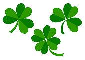 Set of green leaves clover for Saint Patrick's Day. Vector illustration